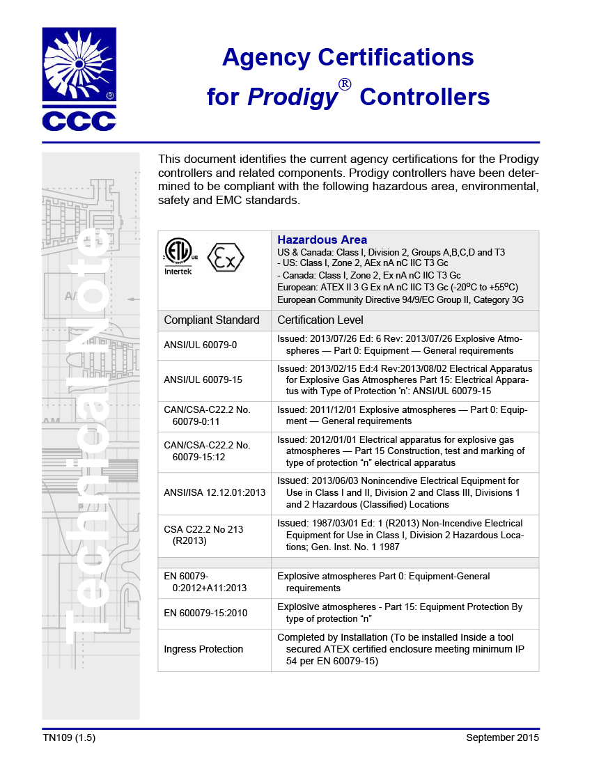 Prodigy Ccc Compressor Controls Corporation Wiring Diagram Agency Certifications For Controllers Tn109