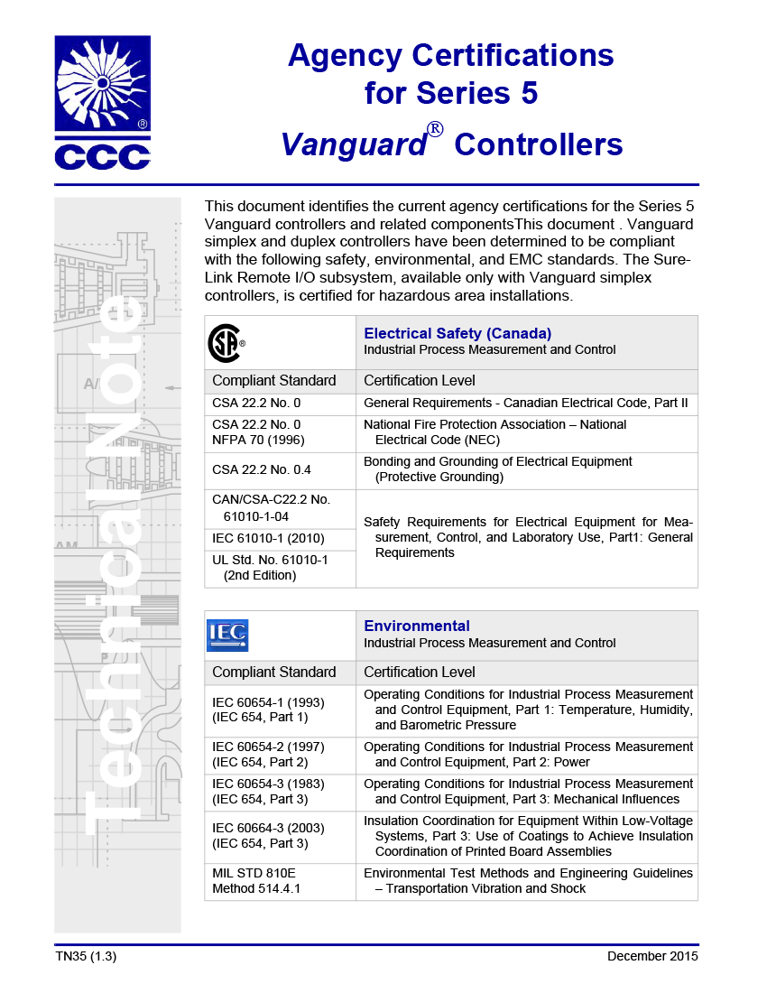 Agency Certifications For Series 5 Vanguard Controllers Tn35 Ccc